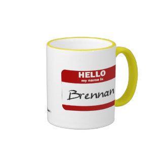 Hello My Name Is Brennan Red Coffee Mugs