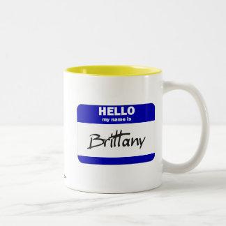 Hello My Name Is Brittany (Blue) Two-Tone Coffee Mug