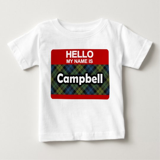 Hello My Name is Campbell Scottish Tartan Baby
