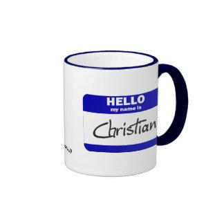 Hello My Name Is Christian Blue Coffee Mug
