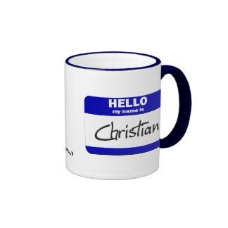 Hello My Name Is Christian (Blue) Ringer Coffee Mug