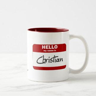 Hello My Name Is Christian Red Coffee Mugs