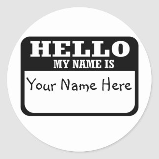 Hello my name is classic round sticker