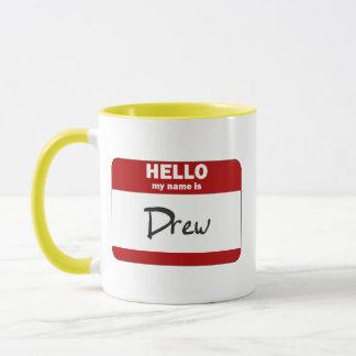 Hello My Name Is Drew (Red) Mug