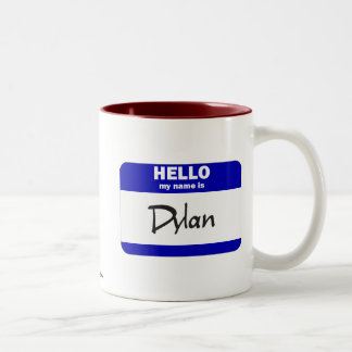 Hello My Name Is Dylan (Blue) Two-Tone Coffee Mug