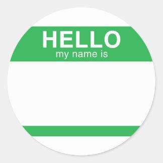 Hello My Name Is - Green Round Sticker