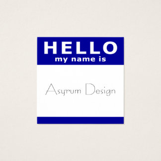 hello my name is in blue square square business card