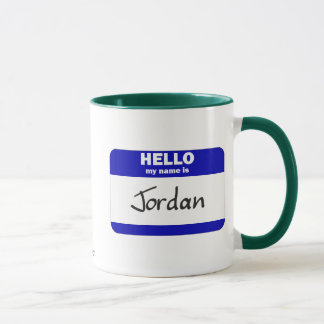 Hello My Name Is Jordan (Blue) Mug