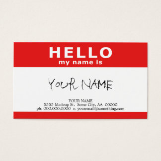 hello my name is : red business card