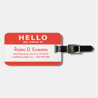 hello my name is : red tags for bags