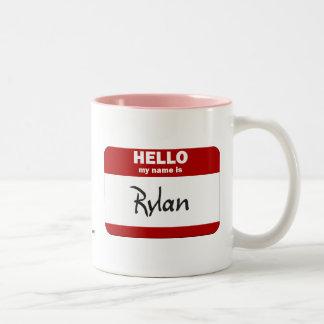 Hello My Name Is Rylan (Red) Two-Tone Mug