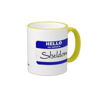 Hello My Name Is Sheldon (Blue) Coffee Mugs