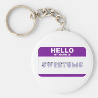 Hello My Name is Sweetums Basic Round Button Key Ring