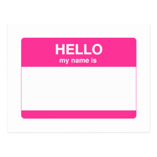 Hello, My Name is Tag Postcard