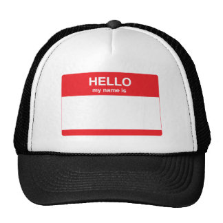 Hello, my name is (your text) mesh hat
