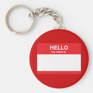 Hello, my name is (your text) key ring