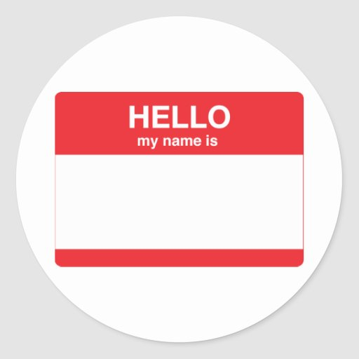 Hello, my name is (your text) stickers