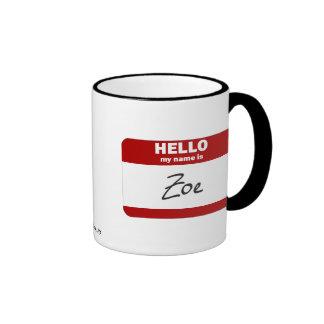 Hello My Name Is Zoe (Red) Mugs