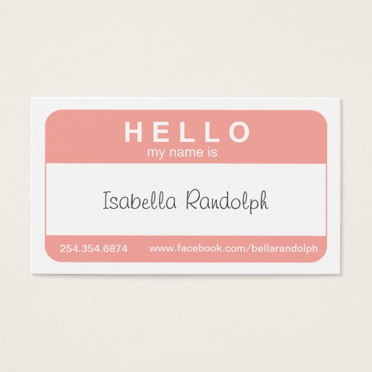 Hello Name Tag Business Card