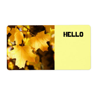 HELLO Name Tag Labels custom Fall Leaves Autumn