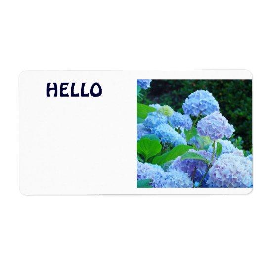 HELLO Name Tags Blue Hydrangea Flowers