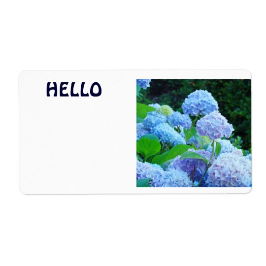 HELLO Name Tags Blue Hydrangea Flowers Shipping Label