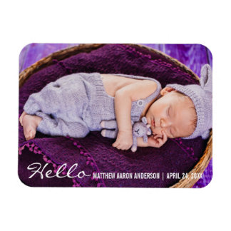 Hello New Baby Photo Announcement Magnet