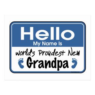 Hello New Grandpa Postcard
