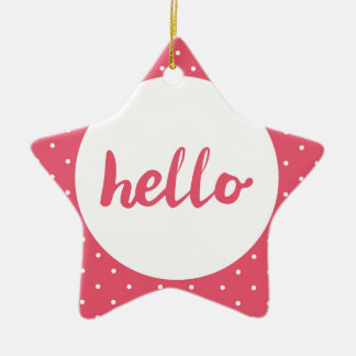 Hello on pastel pink polka dots background christmas ornament