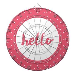 Hello on pastel pink polka dots background dartboard