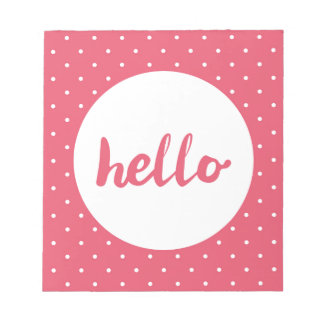 Hello on pastel pink polka dots background notepad
