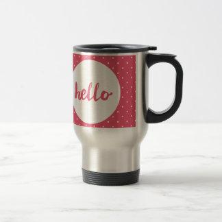 Hello on pastel pink polka dots background travel mug
