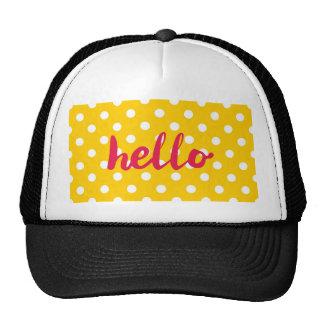 Hello on pastel yellow polka dots background cap