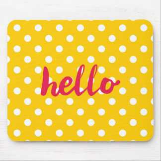 Hello on pastel yellow polka dots background mouse mat