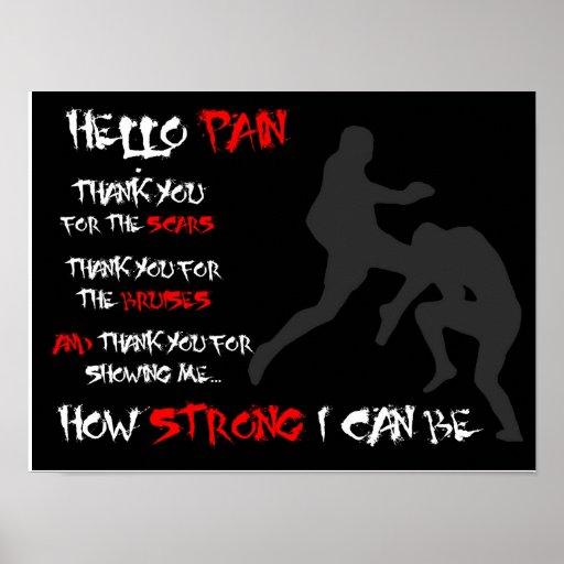 """Hello Pain"" - MMA Inspirational Poster"