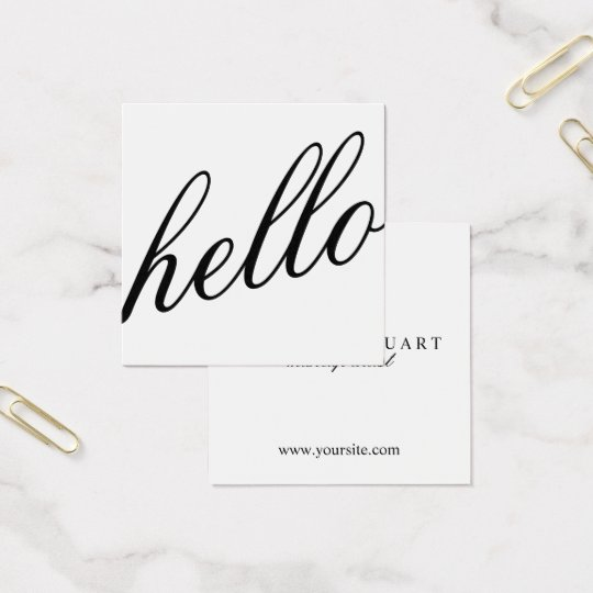 Hello | Professional Modern Elegant Black&White Square Business Card