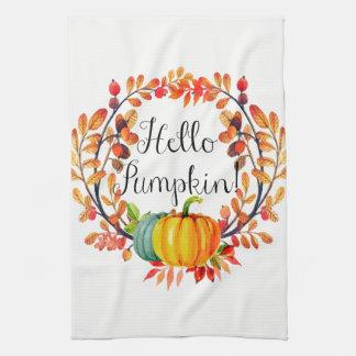 """Hello Pumpkin!"" Autumn Wreath Kitchen Towel"