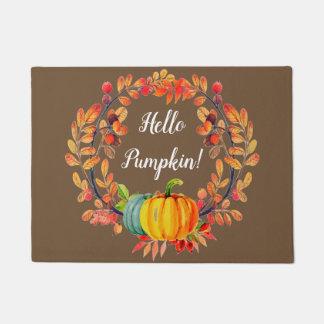 """""""Hello Pumpkin!"""" Autumn Wreath Welcome Door Mat"""