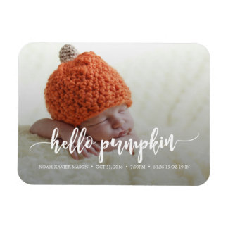 Hello Pumpkin Birth Announcement Magnet