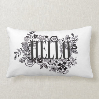 'Hello' quirky hand doodled Scatter Cushion