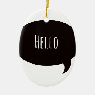 Hello quote in speech bubble ceramic oval decoration
