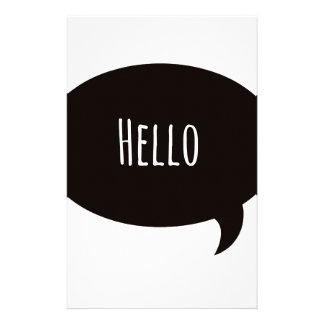Hello quote in speech bubble stationery paper