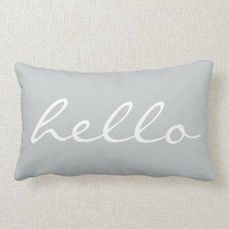 Hello Quotes Chic Gray Lumbar Cushion