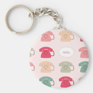 """Hello"" Rotary Phone Pattern Basic Round Button Key Ring"