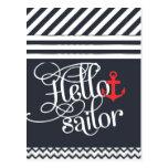 Hello Sailor! Retro Vintage Girly Nautical Postcard