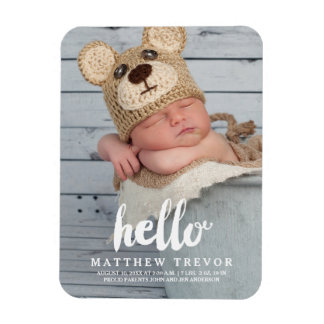 Hello Script | Baby Birth Announcement Magnet