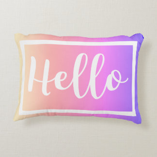 Hello Script Pastel Rainbow Gradient Decorative Cushion