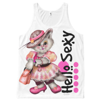 HELLO SEXY 5 CAT AllOver Printed Unisex Tank GIRL