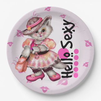 HELLO SEXY CAT CUTE CARTOON  Paper Plates 9""