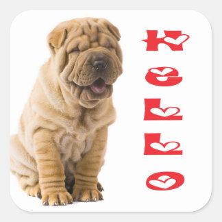 Hello Shar Pei Puppy Dog Sticker / Seals